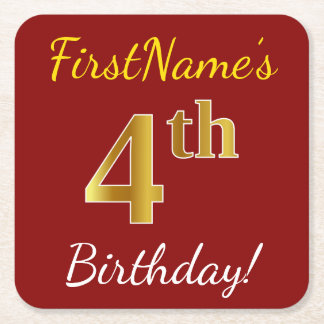 Red, Faux Gold 4th Birthday + Custom Name Square Paper Coaster