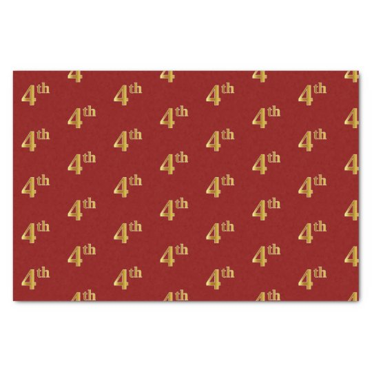 Red, Faux Gold 4th (Fourth) Event Tissue Paper
