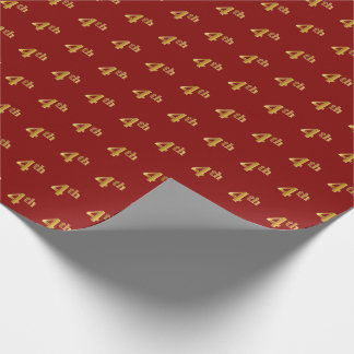 Red, Faux Gold 4th (Fourth) Event Wrapping Paper