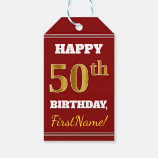 Red, Faux Gold 50th Birthday + Custom Name Gift Tags