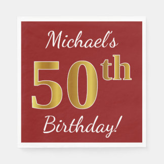 Red, Faux Gold 50th Birthday + Custom Name Napkin