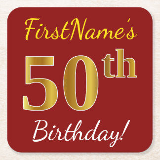 Red, Faux Gold 50th Birthday + Custom Name Square Paper Coaster