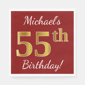 Red, Faux Gold 55th Birthday + Custom Name Disposable Napkins