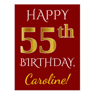 Red, Faux Gold 55th Birthday + Custom Name Postcard