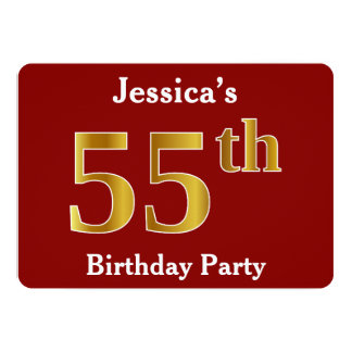Red, Faux Gold 55th Birthday Party + Custom Name Card