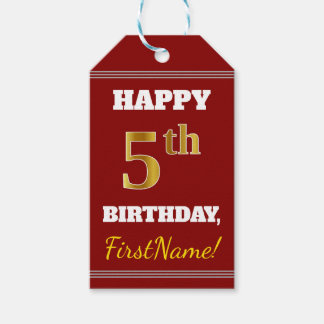 Red, Faux Gold 5th Birthday + Custom Name Gift Tags