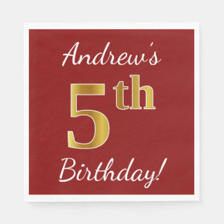 Red, Faux Gold 5th Birthday + Custom Name Paper Napkin