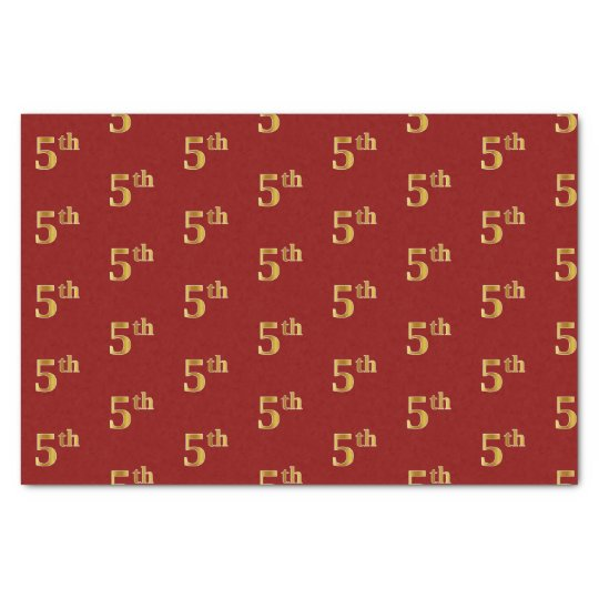 Red, Faux Gold 5th (Fifth) Event Tissue Paper