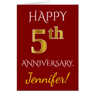 Red, Faux Gold 5th Wedding Anniversary + Name Card