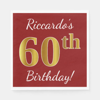 Red, Faux Gold 60th Birthday + Custom Name Disposable Napkins