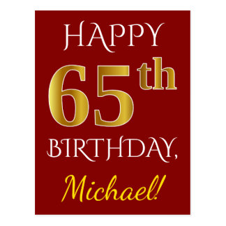 Red, Faux Gold 65th Birthday + Custom Name Postcard