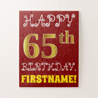Red, Faux Gold 65th Birthday + Custom Name Puzzle