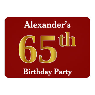 Red, Faux Gold 65th Birthday Party + Custom Name Card