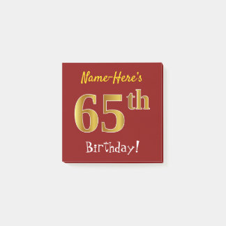 Red, Faux Gold 65th Birthday, With Custom Name Post-it Notes