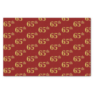 Red, Faux Gold 65th (Sixty-Fifth) Event Tissue Paper