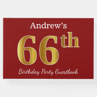 Red, Faux Gold 66th Birthday Party + Custom Name Guest Book