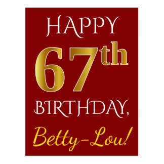 Red, Faux Gold 67th Birthday + Custom Name Postcard