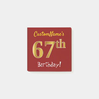 Red, Faux Gold 67th Birthday, With Custom Name Post-it Notes