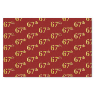 Red, Faux Gold 67th (Sixty-Seventh) Event Tissue Paper