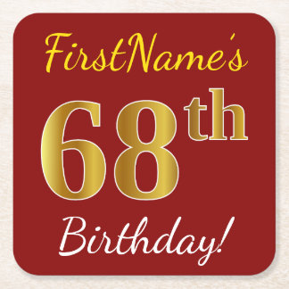 Red, Faux Gold 68th Birthday + Custom Name Square Paper Coaster