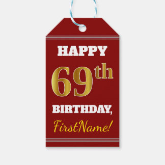 Red, Faux Gold 69th Birthday + Custom Name Gift Tags