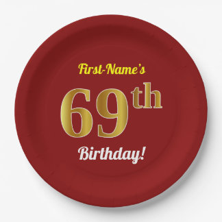Red, Faux Gold 69th Birthday + Custom Name Paper Plate