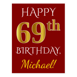 Red, Faux Gold 69th Birthday + Custom Name Postcard