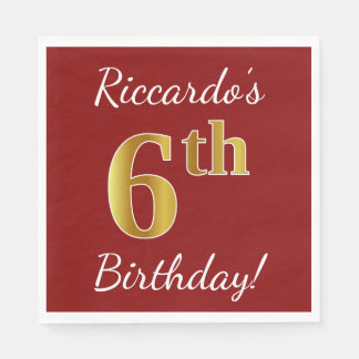 Red, Faux Gold 6th Birthday + Custom Name Paper Napkins