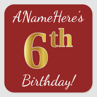 Red, Faux Gold 6th Birthday + Custom Name Sticker