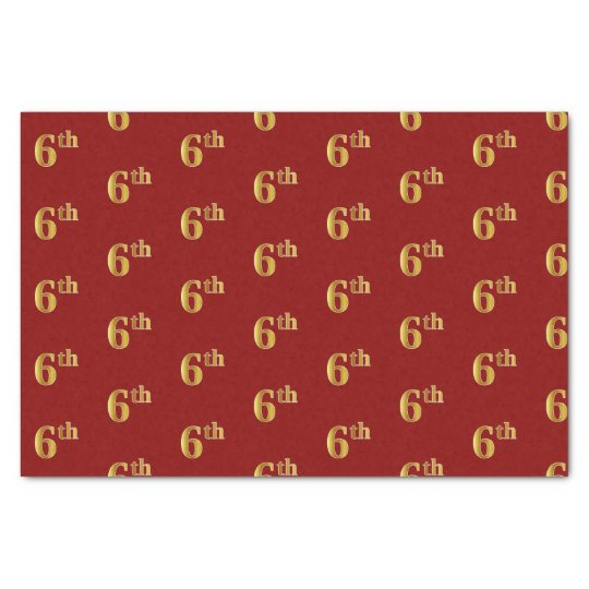 Red, Faux Gold 6th (Sixth) Event Tissue Paper