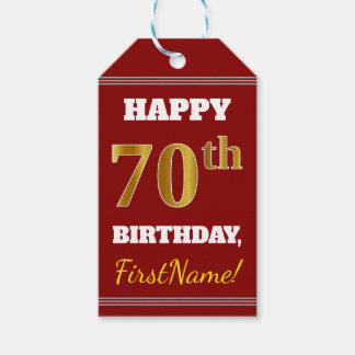 Red, Faux Gold 70th Birthday + Custom Name Gift Tags