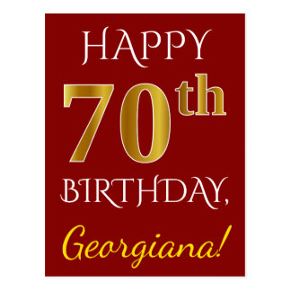 Red, Faux Gold 70th Birthday + Custom Name Postcard