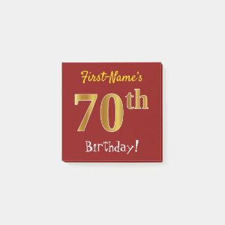 Red, Faux Gold 70th Birthday, With Custom Name Post-it Notes