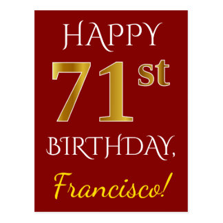 Red, Faux Gold 71st Birthday + Custom Name Postcard