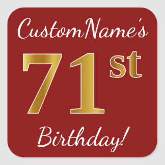 Red, Faux Gold 71st Birthday + Custom Name Sticker