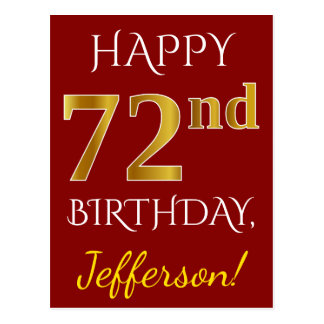 Red, Faux Gold 72nd Birthday + Custom Name Postcard