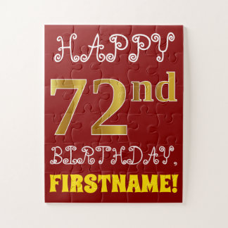 Red, Faux Gold 72nd Birthday + Custom Name Puzzle