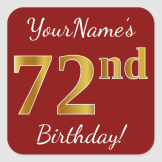 Red, Faux Gold 72nd Birthday + Custom Name Sticker