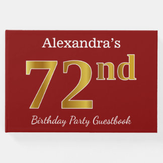 Red, Faux Gold 72nd Birthday Party + Custom Name Guest Book