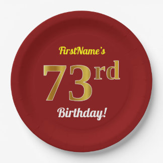 Red, Faux Gold 73rd Birthday + Custom Name Paper Plate