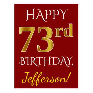 Red, Faux Gold 73rd Birthday + Custom Name Postcard