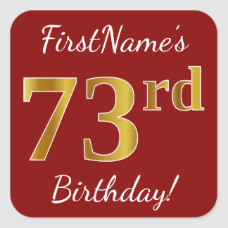 Red, Faux Gold 73rd Birthday + Custom Name Sticker