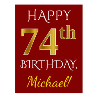 Red, Faux Gold 74th Birthday + Custom Name Postcard