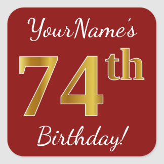 Red, Faux Gold 74th Birthday + Custom Name Sticker
