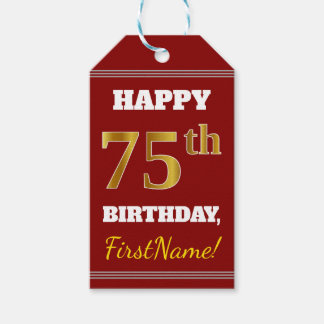 Red, Faux Gold 75th Birthday + Custom Name Gift Tags