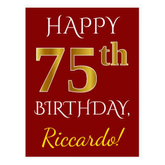 Red, Faux Gold 75th Birthday + Custom Name Postcard