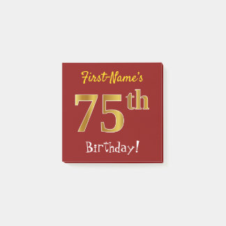 Red, Faux Gold 75th Birthday, With Custom Name Post-it Notes