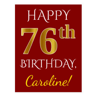 Red, Faux Gold 76th Birthday + Custom Name Postcard