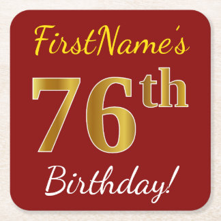 Red, Faux Gold 76th Birthday + Custom Name Square Paper Coaster