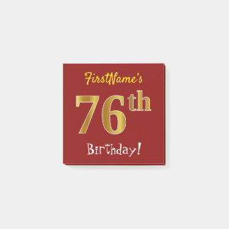 Red, Faux Gold 76th Birthday, With Custom Name Post-it Notes